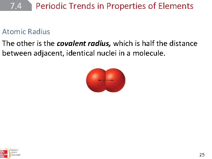 7. 4 Periodic Trends in Properties of Elements Atomic Radius The other is the