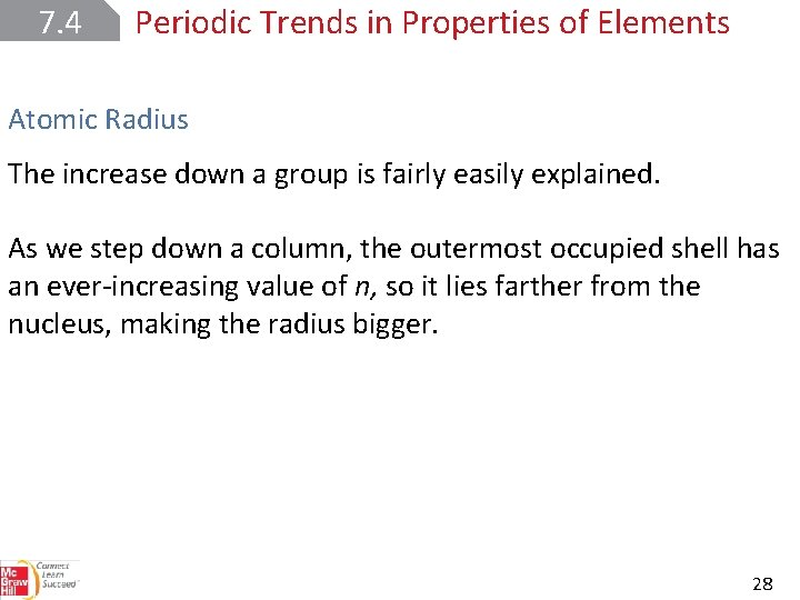 7. 4 Periodic Trends in Properties of Elements Atomic Radius The increase down a