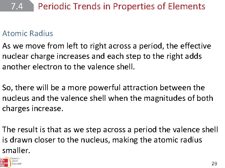 7. 4 Periodic Trends in Properties of Elements Atomic Radius As we move from