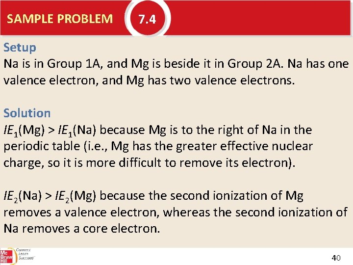 SAMPLE PROBLEM 7. 4 Setup Na is in Group 1 A, and Mg is