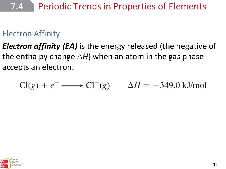 7. 4 Periodic Trends in Properties of Elements Electron Affinity Electron affinity (EA) is