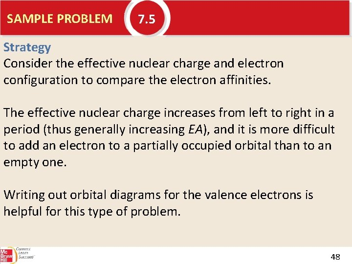 SAMPLE PROBLEM 7. 5 Strategy Consider the effective nuclear charge and electron configuration to