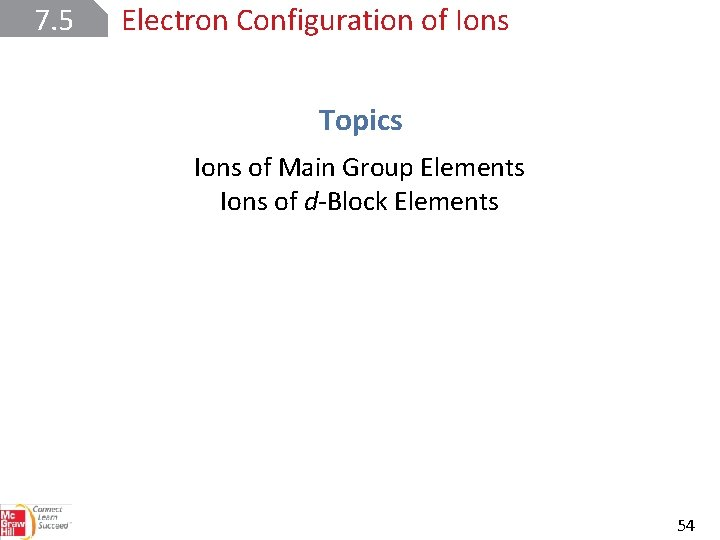 7. 5 Electron Configuration of Ions Topics Ions of Main Group Elements Ions of