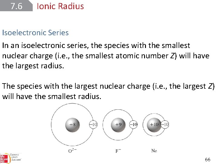 7. 6 Ionic Radius Isoelectronic Series In an isoelectronic series, the species with the