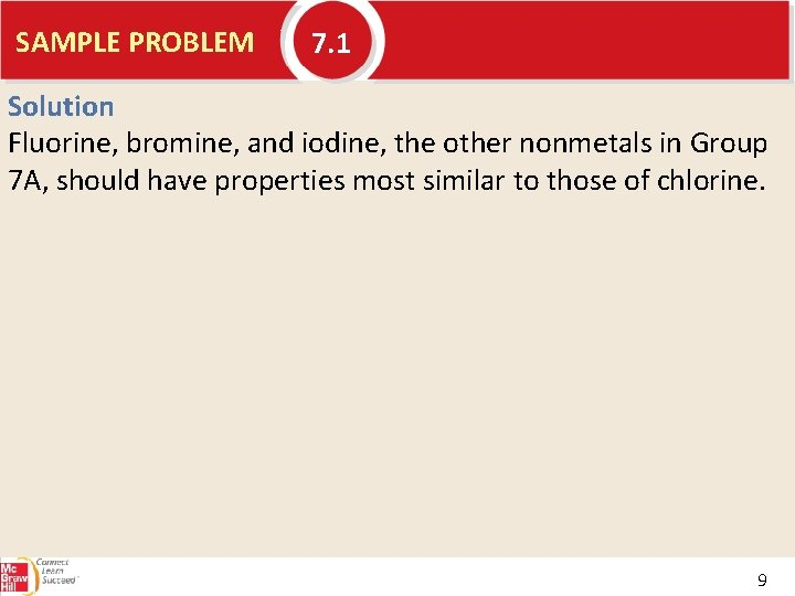 SAMPLE PROBLEM 7. 1 Solution Fluorine, bromine, and iodine, the other nonmetals in Group