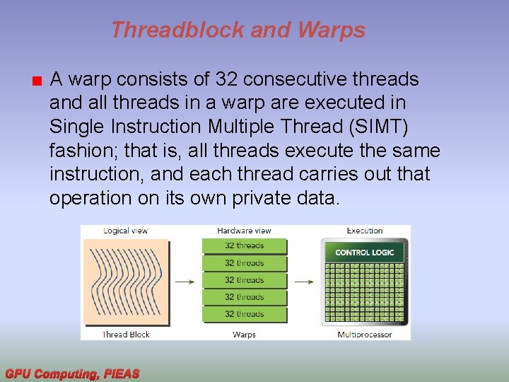 Threadblock and Warps A warp consists of 32 consecutive threads and all threads in