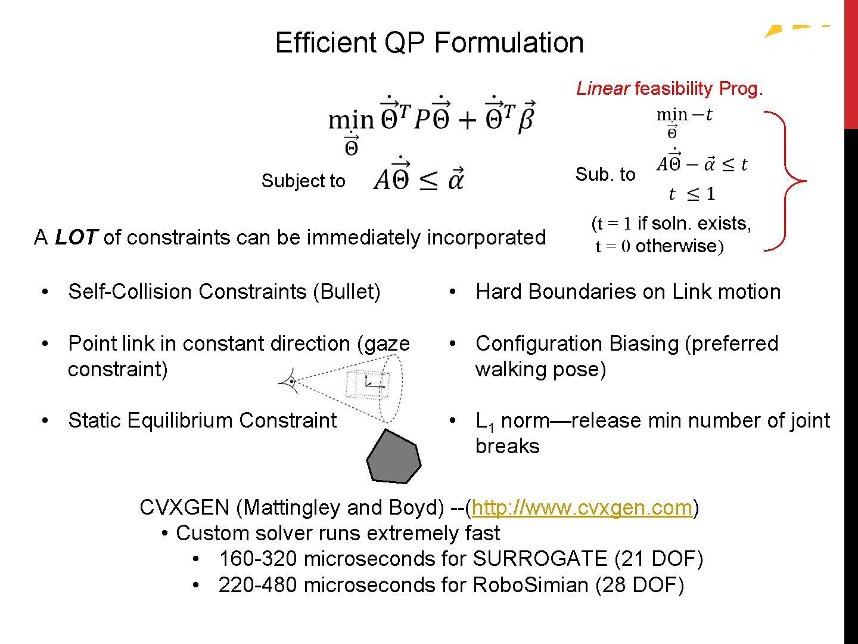 Efficient QP Formulation Quadratic Programming (QP) Linear feasibility Prog. Subject to Sub. to A