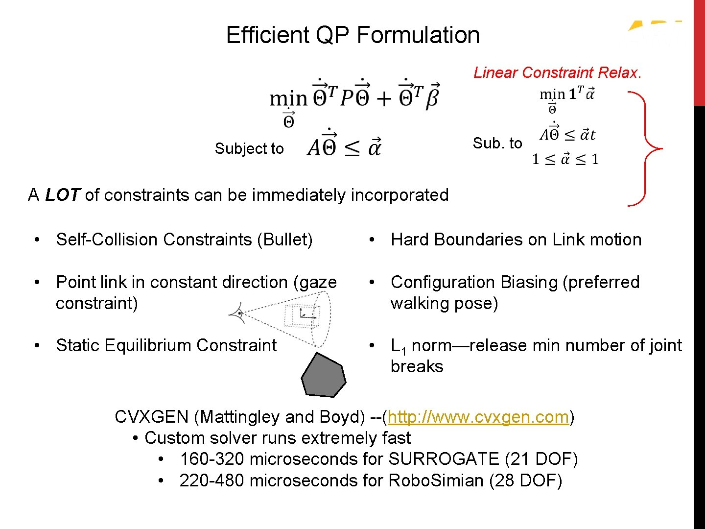 Efficient QP Formulation Quadratic Programming (QP) Linear Constraint Relax. Subject to Sub. to A