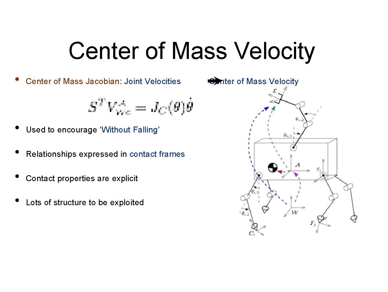 Center of Mass Velocity • Center of Mass Jacobian: Joint Velocities Center of Mass