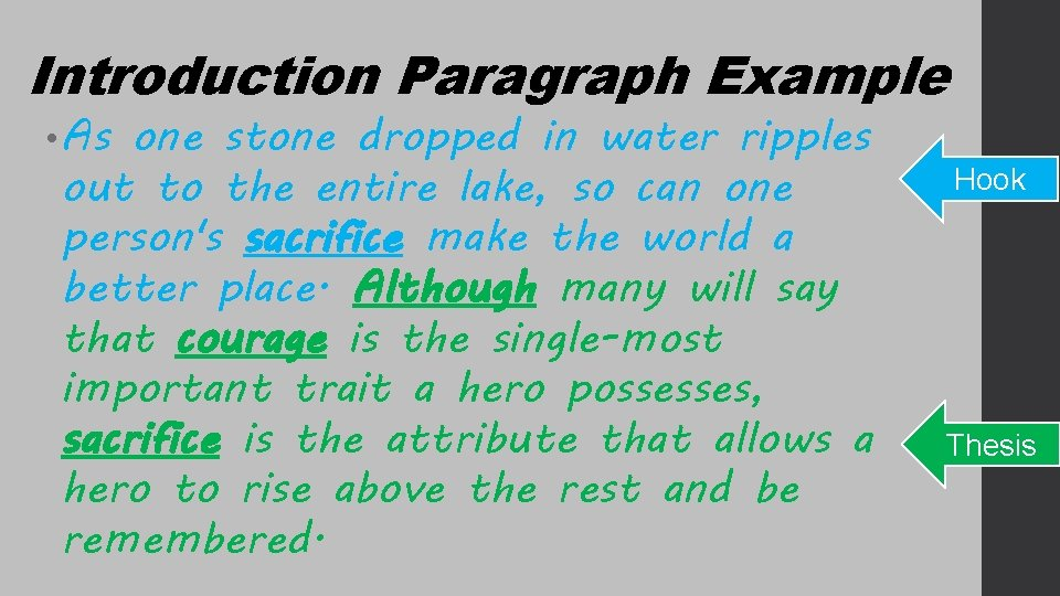Introduction Paragraph Example • As one stone dropped in water ripples out to the