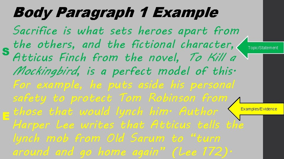 Body Paragraph 1 Example Sacrifice is what sets heroes apart from the others, and