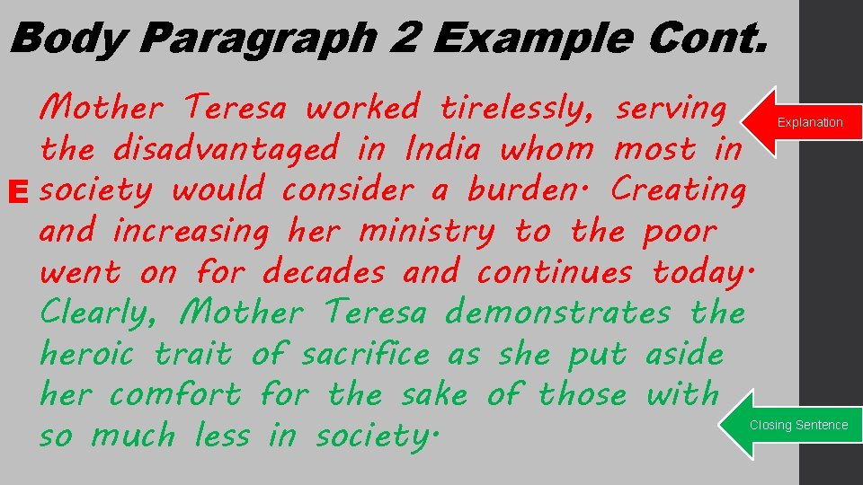 Body Paragraph 2 Example Cont. Mother Teresa worked tirelessly, serving the disadvantaged in India