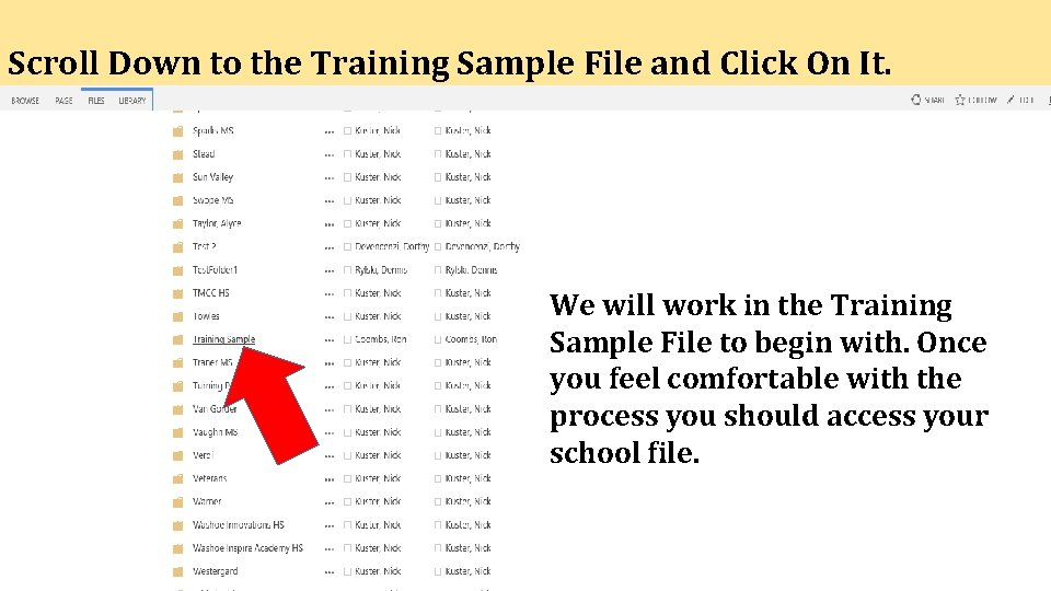 Scroll Down to the Training Sample File and Click On It. We will work