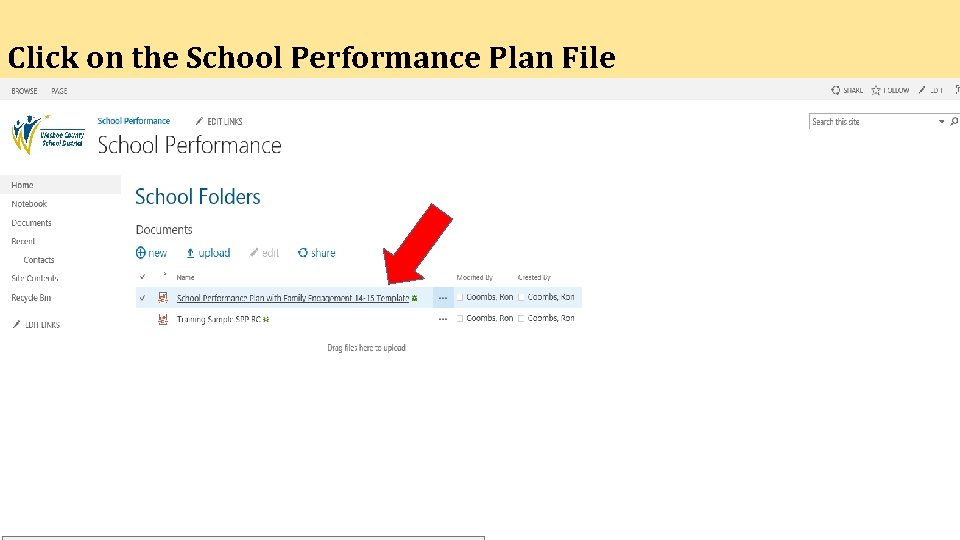 Click on the School Performance Plan File