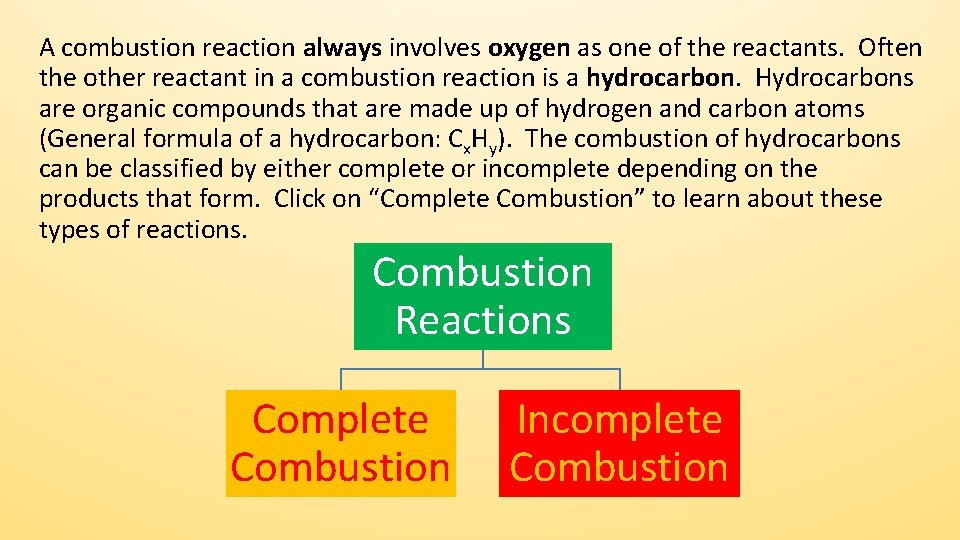 A combustion reaction always involves oxygen as one of the reactants. Often the other