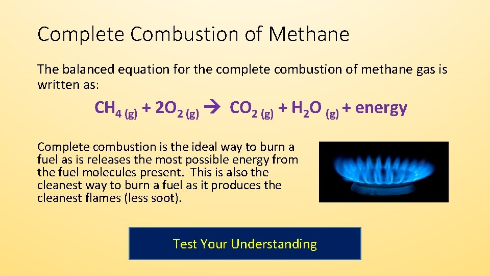 Complete Combustion of Methane The balanced equation for the complete combustion of methane gas