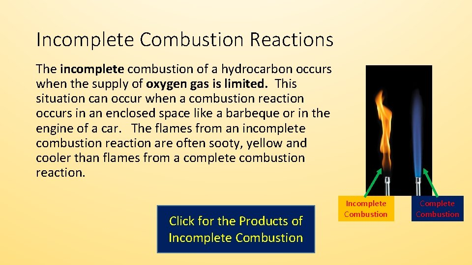 Incomplete Combustion Reactions The incomplete combustion of a hydrocarbon occurs when the supply of