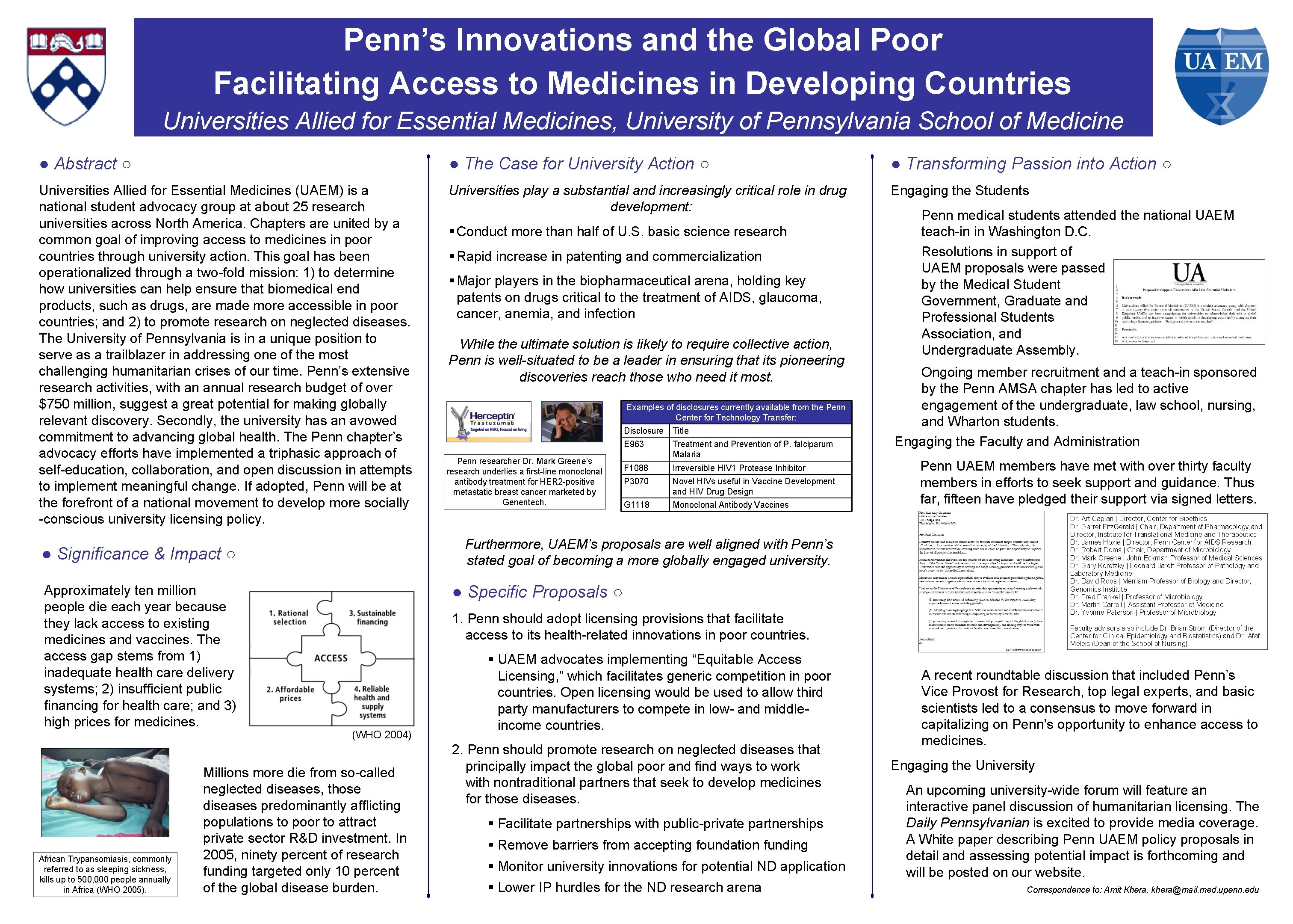 Penn's Innovations and the Global Poor Facilitating Access to Medicines in Developing Countries Universities