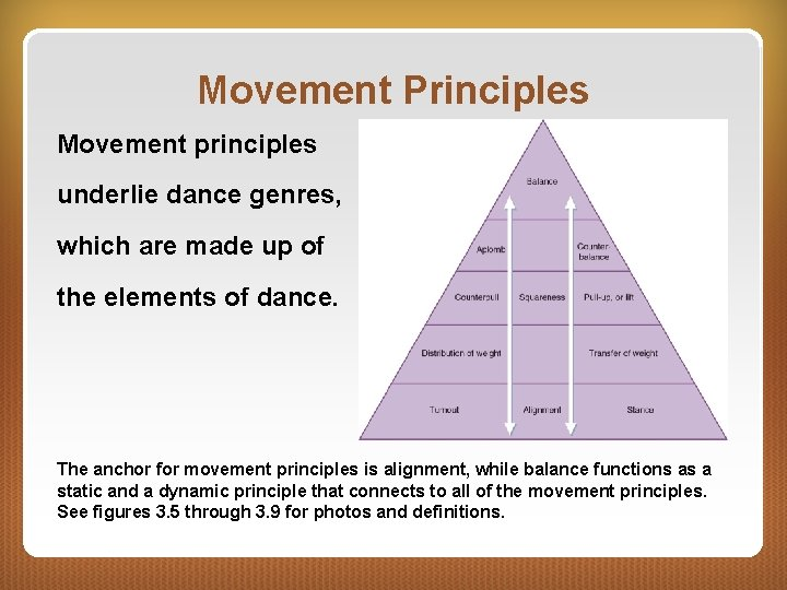 Movement Principles Movement principles underlie dance genres, which are made up of the elements