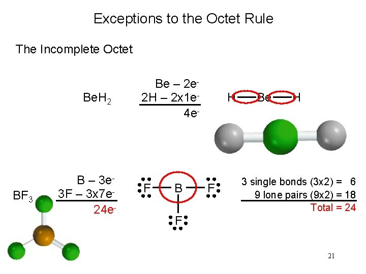 Exceptions to the Octet Rule The Incomplete Octet Be. H 2 BF 3 B