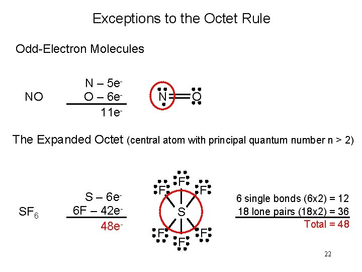 Exceptions to the Octet Rule Odd-Electron Molecules NO N – 5 e. O –