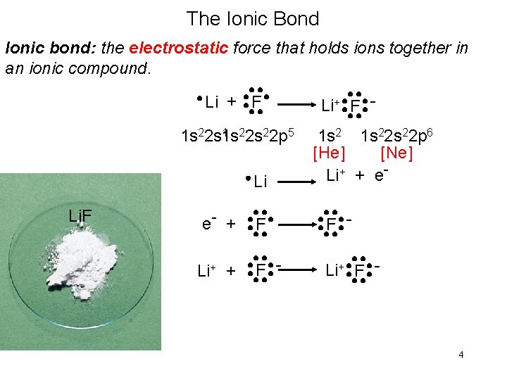 The Ionic Bond Ionic bond: the electrostatic force that holds ions together in an