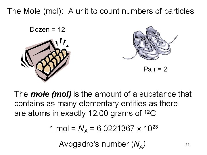 The Mole (mol): A unit to count numbers of particles Dozen = 12 Pair