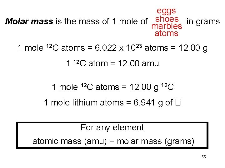 eggs shoes Molar mass is the mass of 1 mole of in grams marbles
