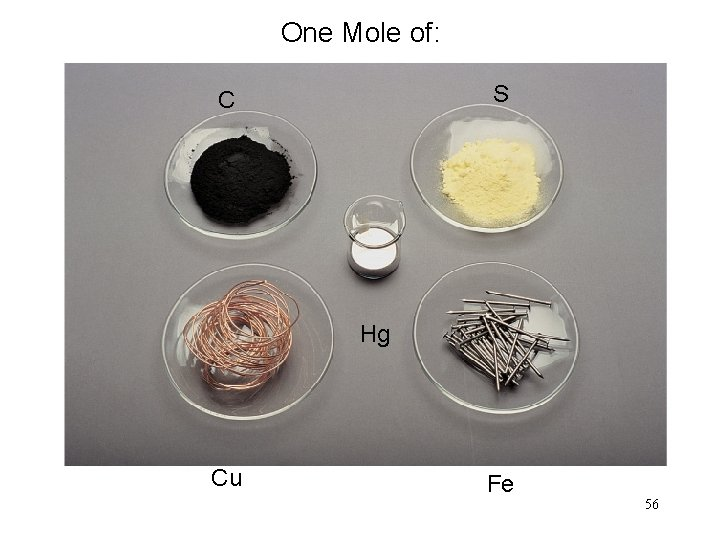 One Mole of: S C Hg Cu Fe 56