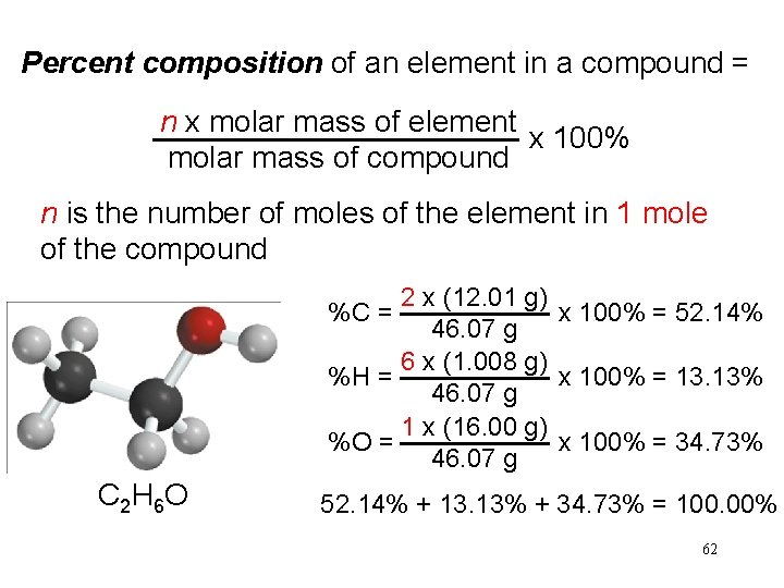 Percent composition of an element in a compound = n x molar mass of