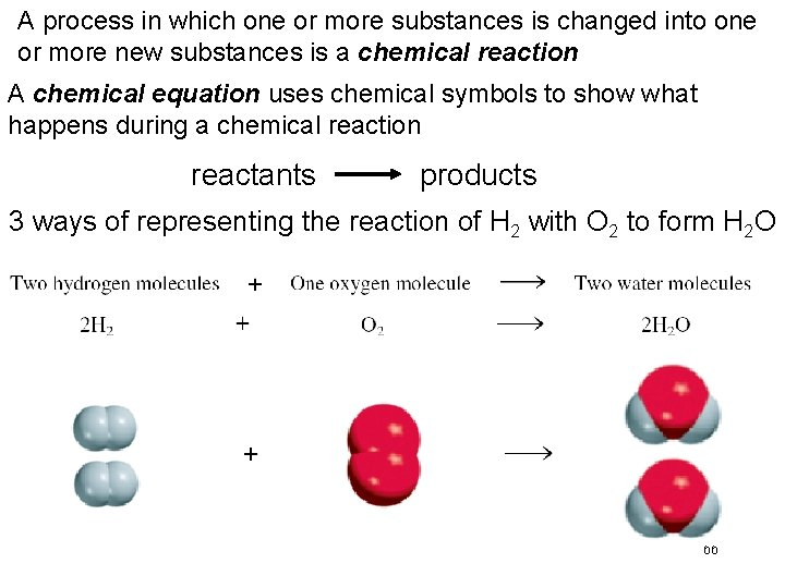 A process in which one or more substances is changed into one or more