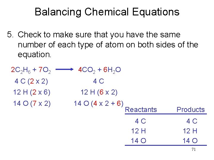 Balancing Chemical Equations 5. Check to make sure that you have the same number
