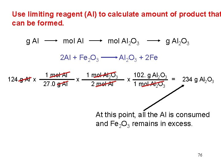 Use limiting reagent (Al) to calculate amount of product that can be formed. g