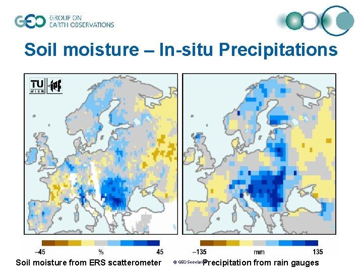Soil moisture – In-situ Precipitations Soil moisture from ERS scatterometer Precipitation from rain gauges