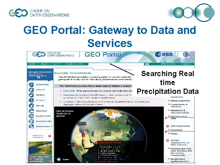 GEO Portal: Gateway to Data and Services Searching Real time Precipitation Data © GEO