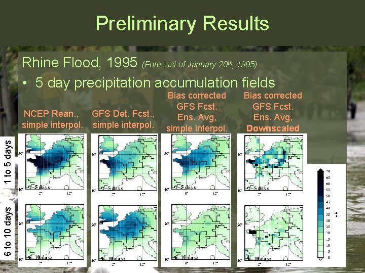 Preliminary Results Rhine Flood, 1995 (Forecast of January 20 , 1995) • 5 day