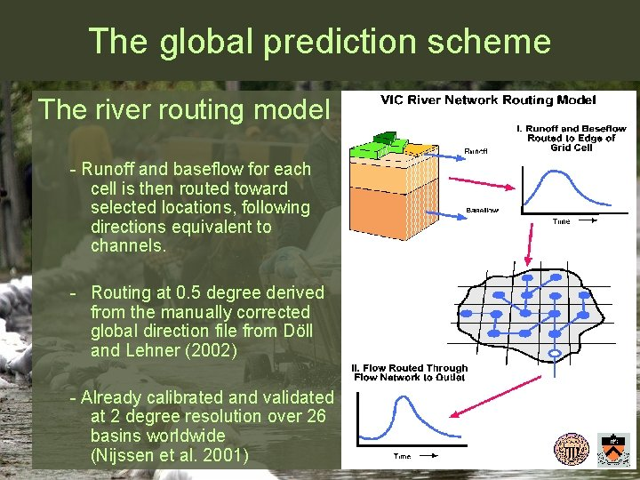 The global prediction scheme The river routing model - Runoff and baseflow for each