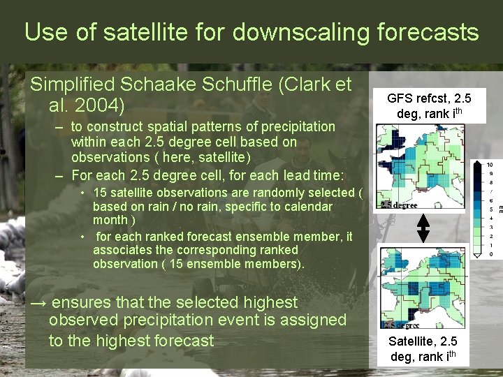 Use of satellite for downscaling forecasts Simplified Schaake Schuffle (Clark et al. 2004) –