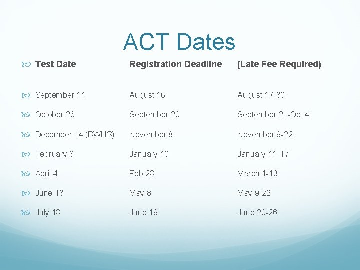 ACT Dates Test Date Registration Deadline (Late Fee Required) September 14 August 16 August