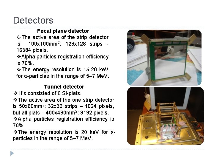 Detectors Focal plane detector v. The active area of the strip detector is 100