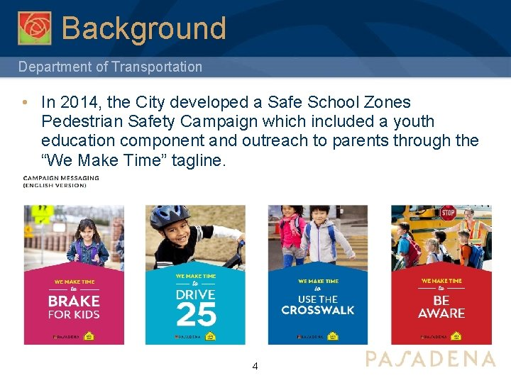 Background Department of Transportation • In 2014, the City developed a Safe School Zones