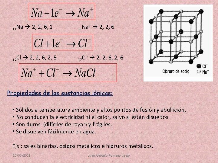 11 Na 17 Cl 2, 2, 6, 1 11 Na + 2, 2, 6,