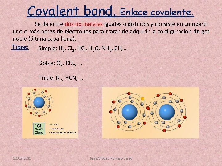 Covalent bond. Enlace covalente. Se da entre dos no metales iguales o distintos y