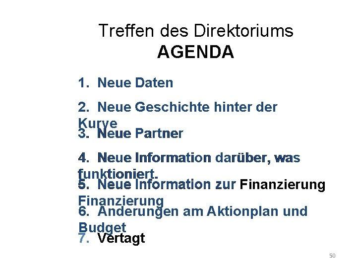 Treffen des Direktoriums AGENDA 1. Neue Daten 2. Neue Geschichte hinter der Kurve 3.