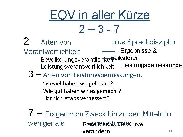 EOV in aller Kürze 2 – 3 - 7 2 – Arten von plus