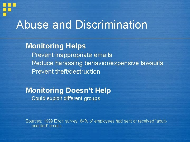 Abuse and Discrimination Monitoring Helps Prevent inappropriate emails Reduce harassing behavior/expensive lawsuits Prevent theft/destruction