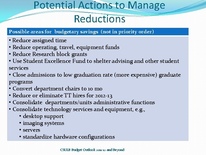 Potential Actions to Manage Reductions Possible areas for budgetary savings (not in priority order)