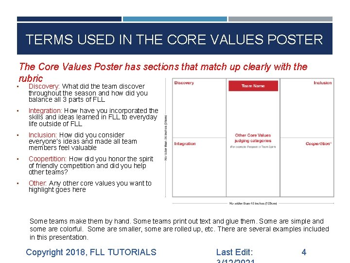 TERMS USED IN THE CORE VALUES POSTER The Core Values Poster has sections that
