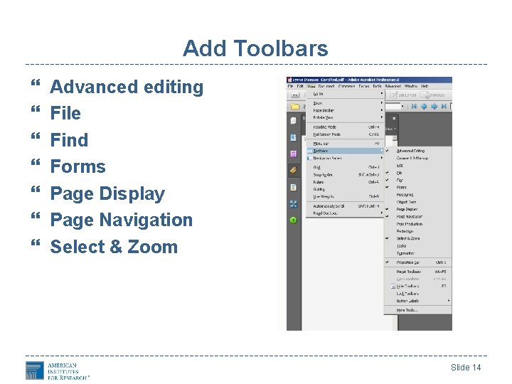 Add Toolbars Advanced editing File Find Forms Page Display Page Navigation Select & Zoom