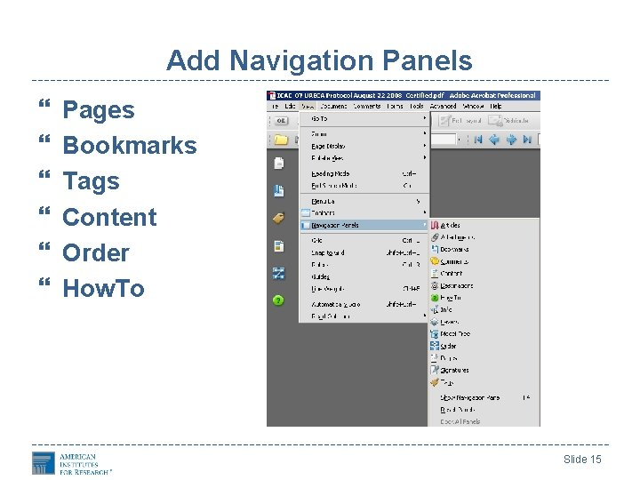 Add Navigation Panels Pages Bookmarks Tags Content Order How. To Slide 15